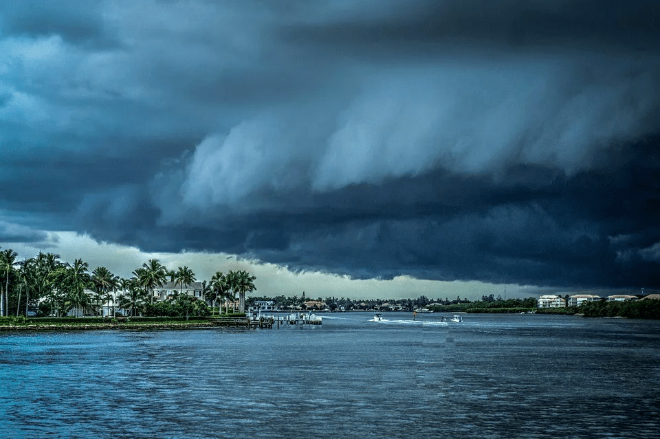 Dark cloudy stormfront above a Florida community