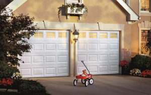 Thumbnail of Two white colonial style garage doors