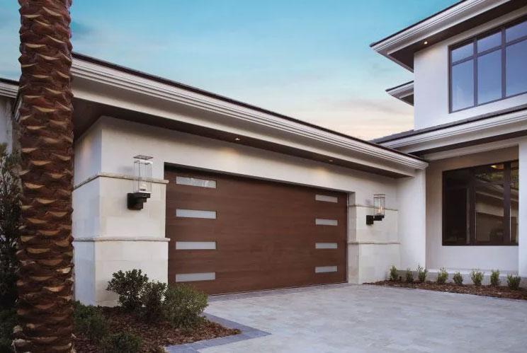 Home with brown Modern Series garage door