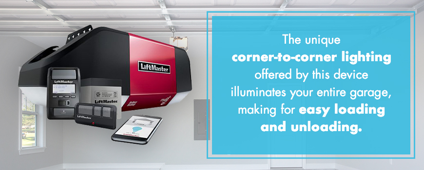 The unique corner-to-corner lighting offered by this device illuminates your entire garage, making for easy loading and unloading.